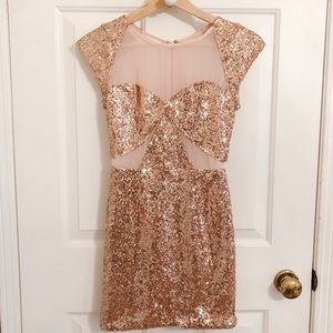 Nasty Gal Rose Gold Sequin Body Con Dress